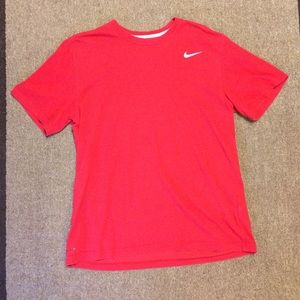 Nike Dri Fit Red Athletic Logo Short Sleeve Tshirt